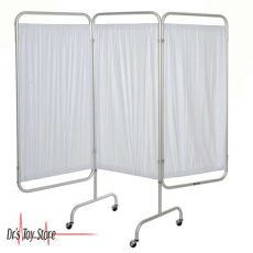 3 Panel Privacy Screenwith Casters White Vinyl
