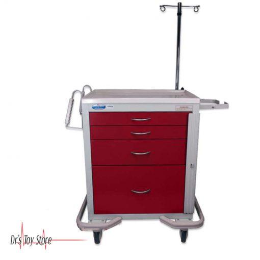 Standard Steel Red Emergency Cart, 4-Drawer